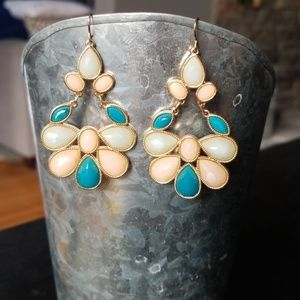 Jewelry - Teal, Pink & Blue Statement Earrings